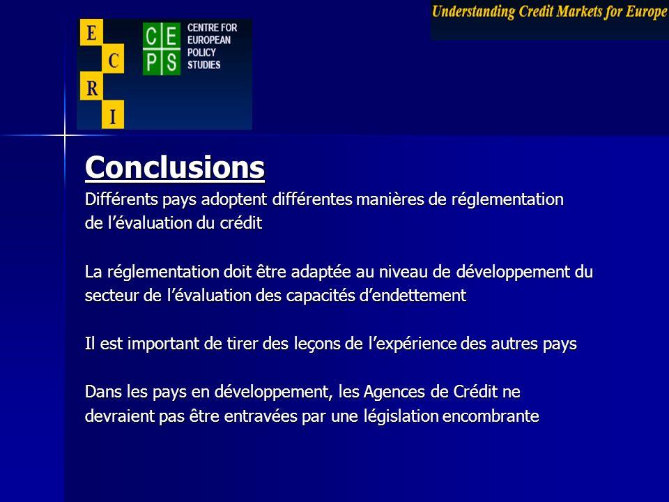 Conclusions Différents pays adoptent différentes manières de réglementation de lévaluation du crédit La réglementation doit être adaptée au niveau de