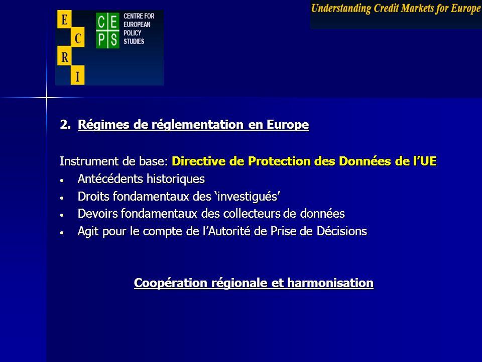 2. Régimes de réglementation en Europe Instrument de base: Directive de Protection des Données de lUE Antécédents historiques Antécédents historiques