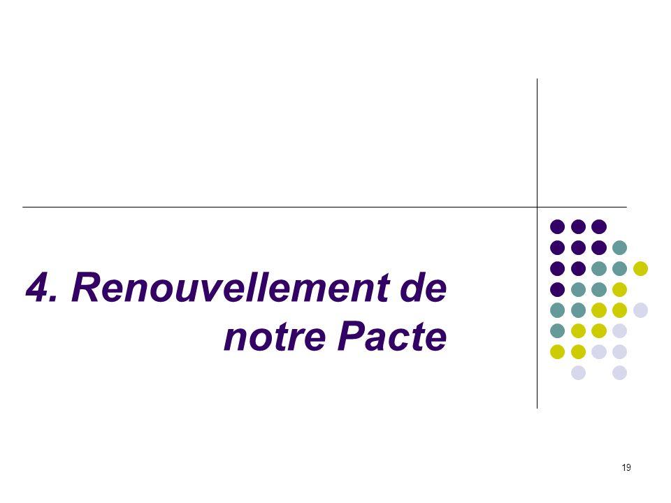 19 4. Renouvellement de notre Pacte