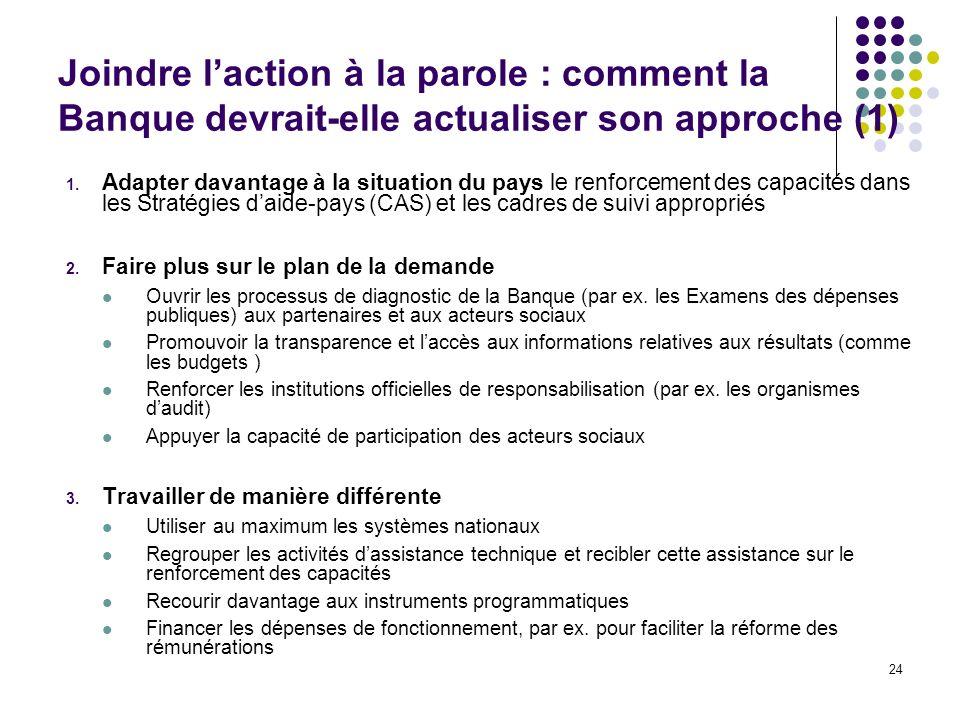 24 Joindre laction à la parole : comment la Banque devrait-elle actualiser son approche (1) 1.