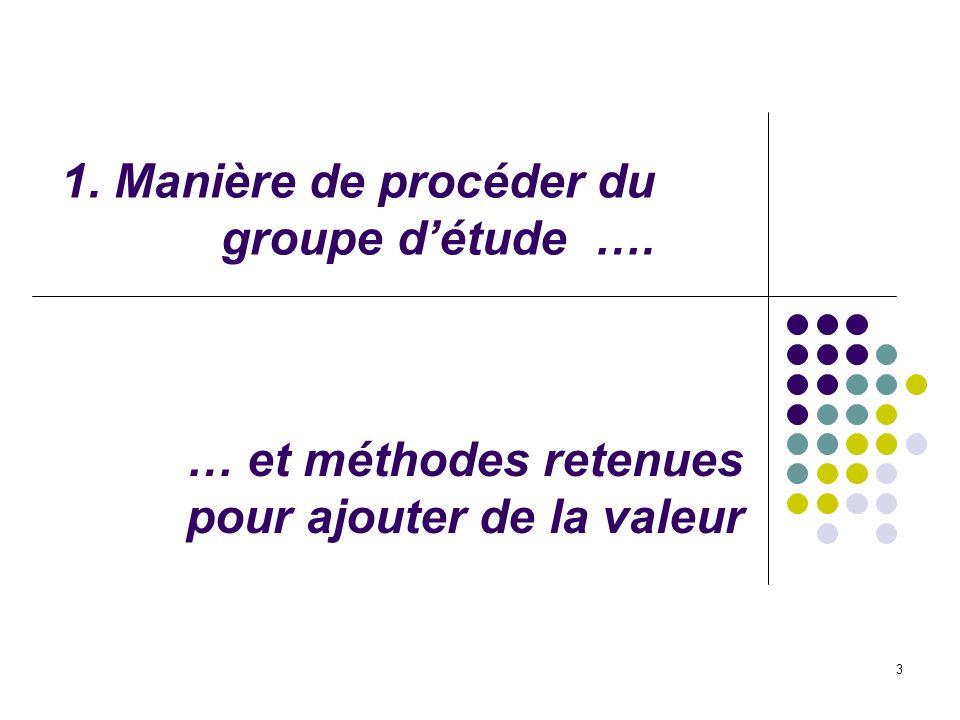3 1. Manière de procéder du groupe détude …. … et méthodes retenues pour ajouter de la valeur