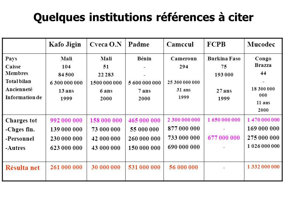 Quelques institutions références à citer Kafo Jigin Cveca O.NPadmeCamcculFCPBMucodec Pays Caisse Membres Total bilan Ancienneté Information de Mali 104 84 500 6 300 000 000 13 ans 1999 Mali 51 22 283 1500 000 000 6 ans 2000 Bénin - 5 600 000 000 7 ans 2000 Cameroun 294 25 300 000 000 31 ans 1999 Burkina Faso 75 193 000 27 ans 1999 Congo Brazza 44 - 18 300 000 000 11 ans 2000 Charges tot -Chges fin.