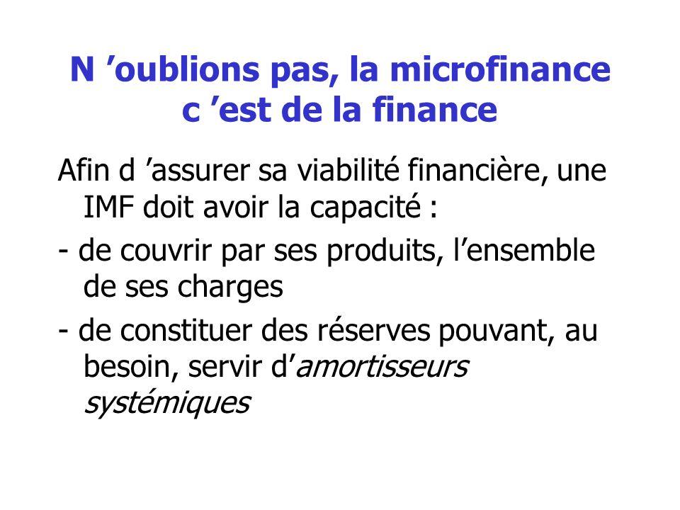 N oublions pas, la microfinance c est de la finance Afin d assurer sa viabilité financière, une IMF doit avoir la capacité : - de couvrir par ses produits, lensemble de ses charges - de constituer des réserves pouvant, au besoin, servir damortisseurs systémiques