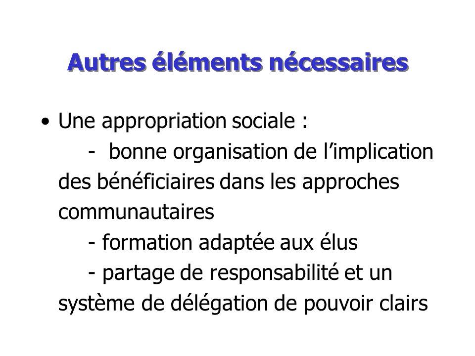Autres éléments nécessaires Une appropriation sociale : - bonne organisation de limplication des bénéficiaires dans les approches communautaires - formation adaptée aux élus - partage de responsabilité et un système de délégation de pouvoir clairs