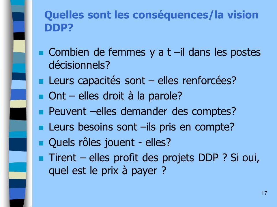 17 Quelles sont les conséquences/la vision DDP.