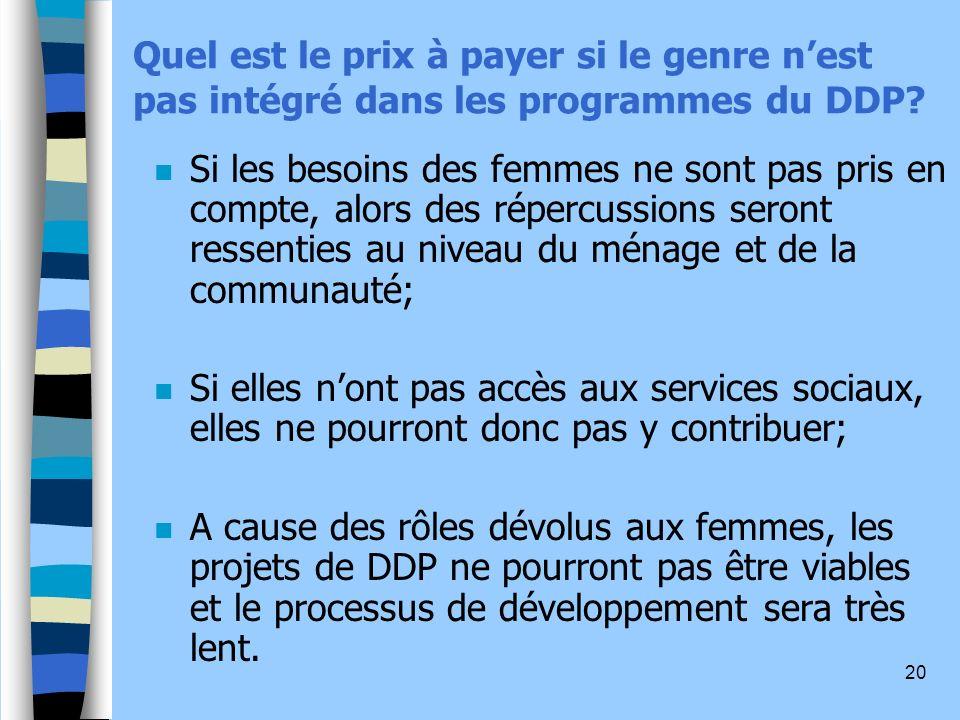 20 Quel est le prix à payer si le genre nest pas intégré dans les programmes du DDP.