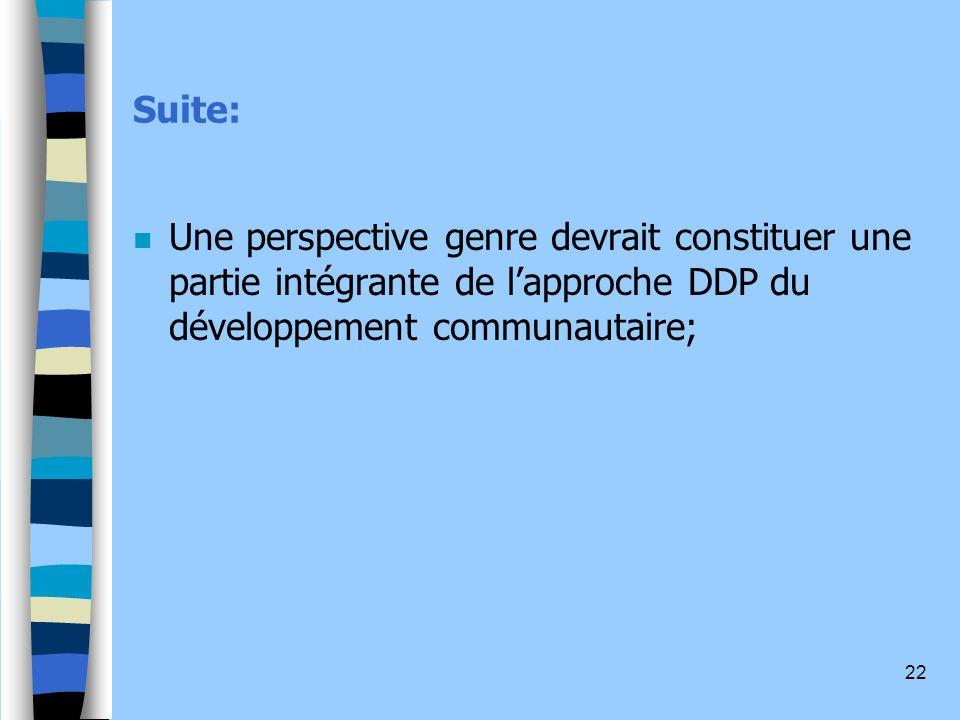 22 Suite: n Une perspective genre devrait constituer une partie intégrante de lapproche DDP du développement communautaire;