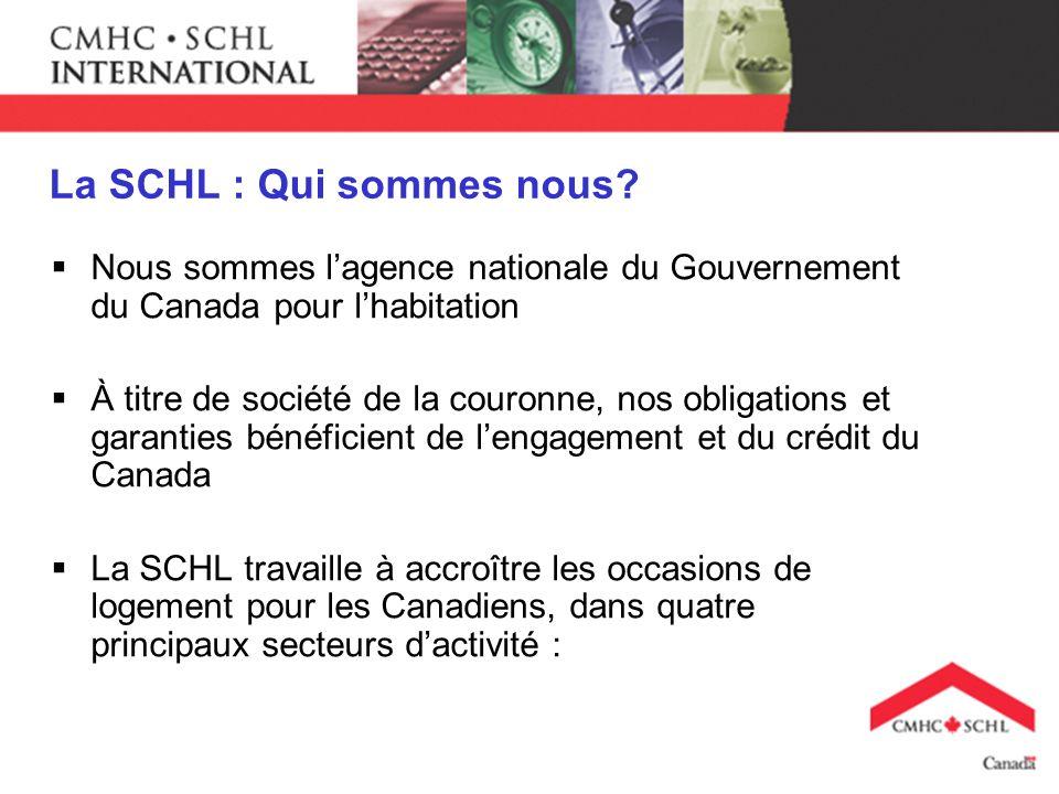 La SCHL : Qui sommes nous? Nous sommes lagence nationale du Gouvernement du Canada pour lhabitation À titre de société de la couronne, nos obligations