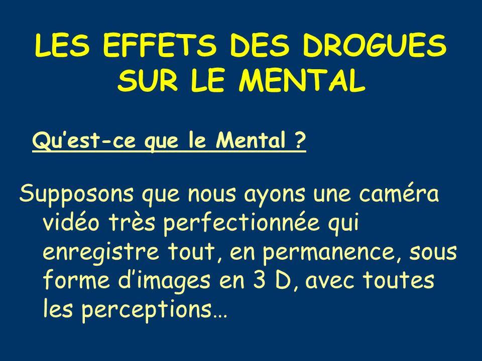 LES EFFETS DES DROGUES SUR LE MENTAL Quest-ce que le Mental ? Supposons que nous ayons une caméra vidéo très perfectionnée qui enregistre tout, en per