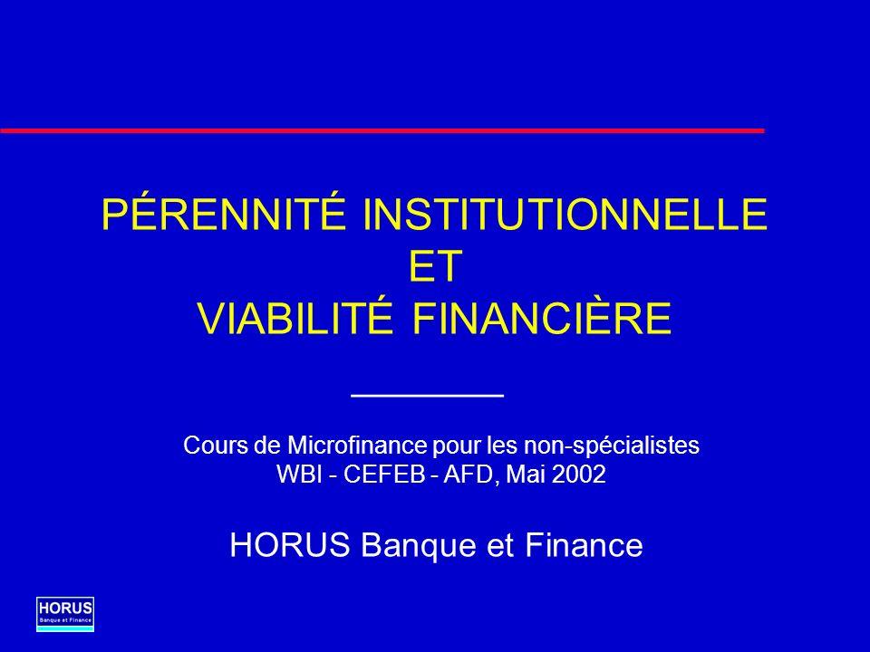 1.Progression dune IMF vers la pérennité institutionnelle 2.