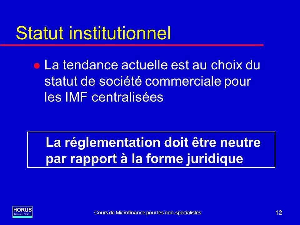 Cours de Microfinance pour les non-spécialistes 12 Statut institutionnel l La tendance actuelle est au choix du statut de société commerciale pour les