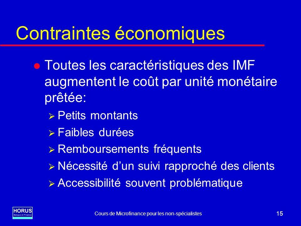 Cours de Microfinance pour les non-spécialistes 15 Contraintes économiques l Toutes les caractéristiques des IMF augmentent le coût par unité monétair