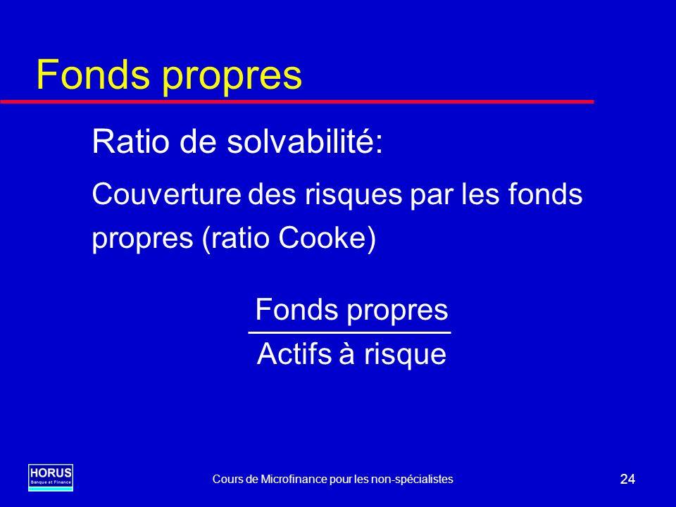 Cours de Microfinance pour les non-spécialistes 24 Fonds propres Ratio de solvabilité: Couverture des risques par les fonds propres (ratio Cooke) Fond