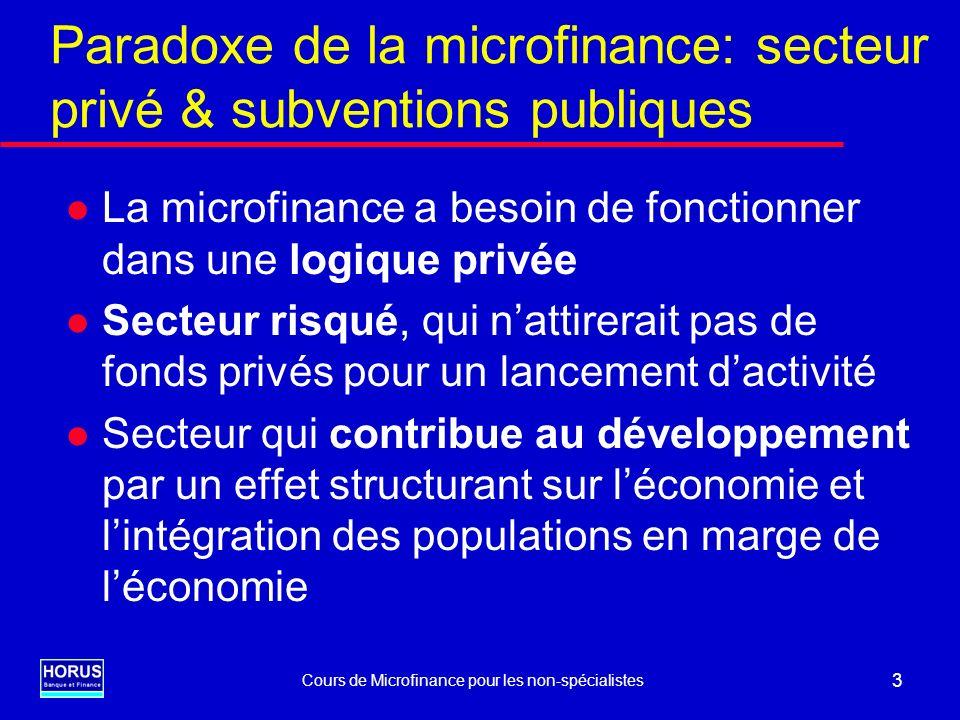 Cours de Microfinance pour les non-spécialistes 4 Formes du soutien financier externe l Subventions dexploitation l Dotations en fonds de crédit l Subventionnement de lassistance technique: Opérationnelle Mise en place SIG et méthodes l Ressources concessionnelles en monnaie locale