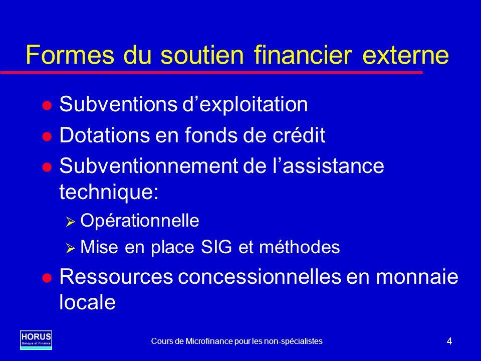 Cours de Microfinance pour les non-spécialistes 4 Formes du soutien financier externe l Subventions dexploitation l Dotations en fonds de crédit l Sub