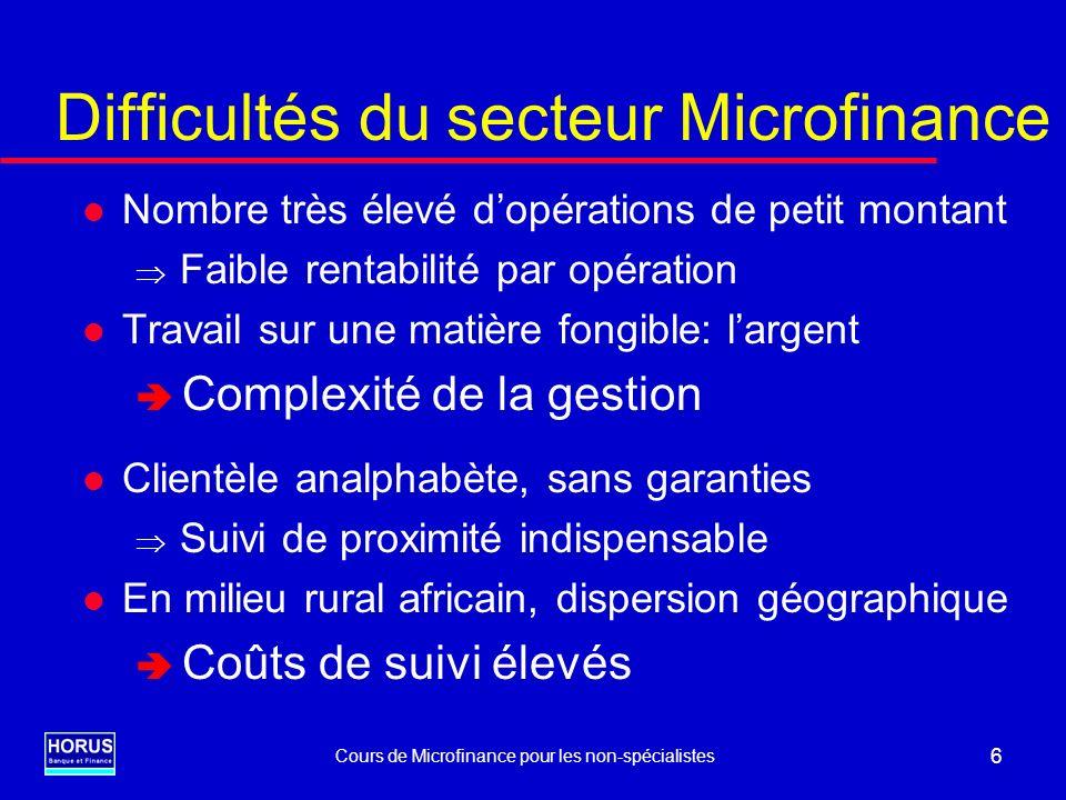 Cours de Microfinance pour les non-spécialistes 7 Éléments de pérennité dune IMF Fonctionnement dentreprise: l Viabilité financière l Gouvernance l Insertion juridique et réglementaire l Maîtrise technique