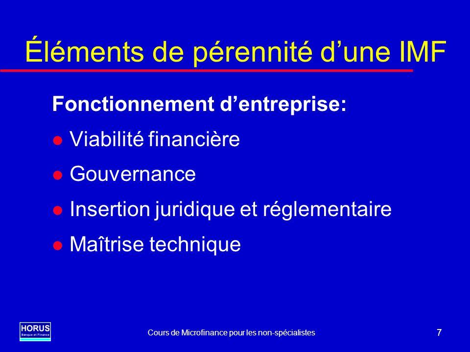 Cours de Microfinance pour les non-spécialistes 8 Cycle de vie dune IMF l Phase 1: Mise au point technique Atteinte de la viabilité financière Mise en place de la coquille institutionnelle l Phase 2: Croissance – rentabilité Outils et procédures de gestion adaptés à la taille Propriétaires capables de prendre en charge le devenir sur le long terme l Phase 3: Entreprise privée « banalisée »