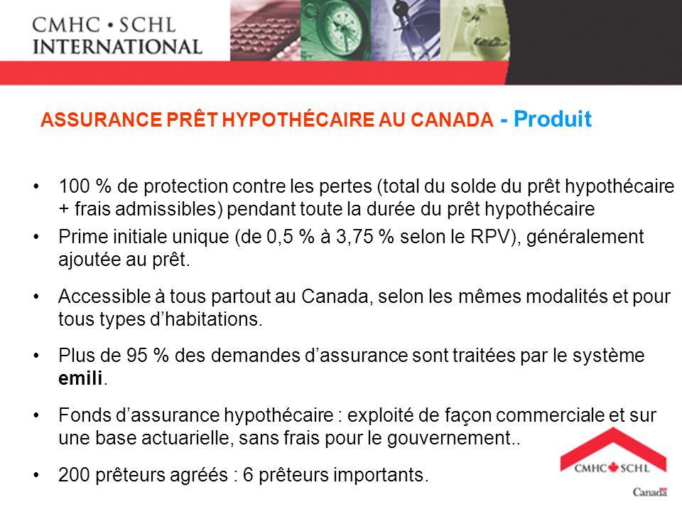 ASSURANCE PRÊT HYPOTHÉCAIRE AU CANADA - Produit 100 % de protection contre les pertes (total du solde du prêt hypothécaire + frais admissibles) pendant toute la durée du prêt hypothécaire Prime initiale unique (de 0,5 % à 3,75 % selon le RPV), généralement ajoutée au prêt.