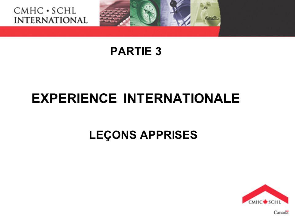 PARTIE 3 EXPERIENCE INTERNATIONALE LEÇONS APPRISES