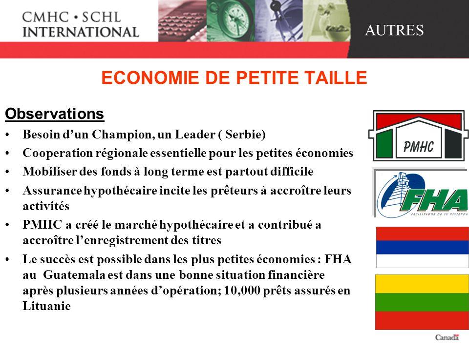 ECONOMIE DE PETITE TAILLE Observations Besoin dun Champion, un Leader ( Serbie) Cooperation régionale essentielle pour les petites économies Mobiliser