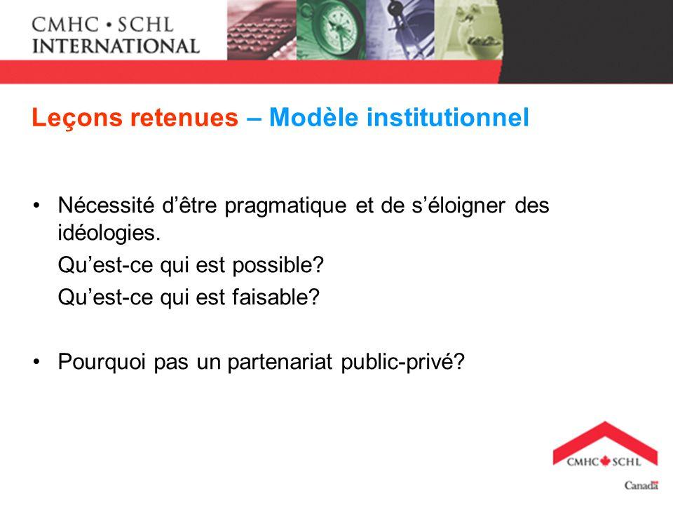 Leçons retenues – Modèle institutionnel Nécessité dêtre pragmatique et de séloigner des idéologies.