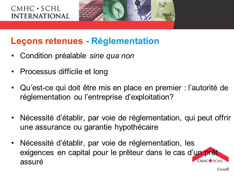 Leçons retenues - Réglementation Condition préalable sine qua non Processus difficile et long Quest-ce qui doit être mis en place en premier : lautorité de réglementation ou lentreprise dexploitation.