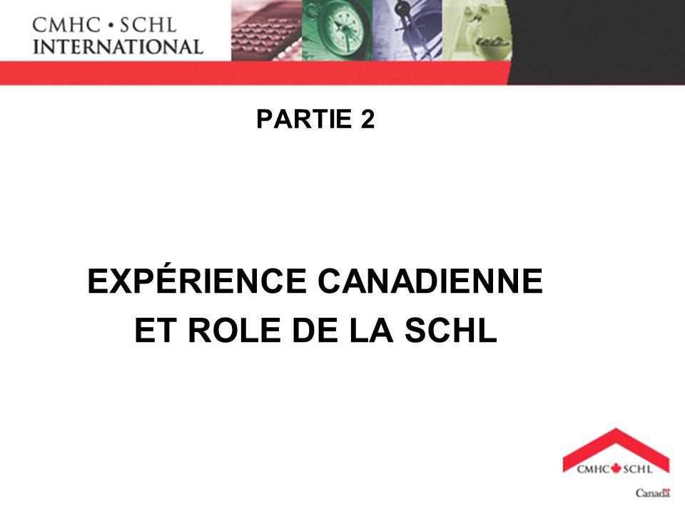 PARTIE 2 EXPÉRIENCE CANADIENNE ET ROLE DE LA SCHL