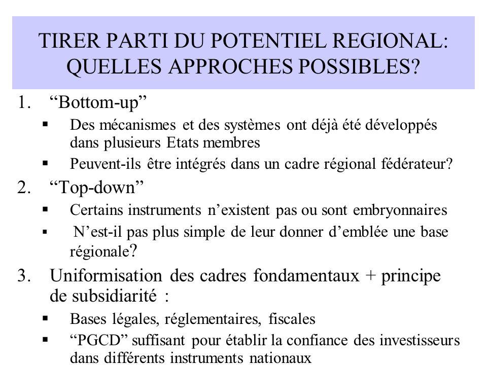 TIRER PARTI DU POTENTIEL REGIONAL: QUELLES APPROCHES POSSIBLES? 1.Bottom-up Des mécanismes et des systèmes ont déjà été développés dans plusieurs Etat