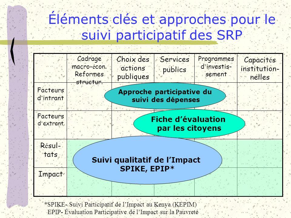 Impact R é sul- tats Facteurs d extrant Facteurs d intrant Capacit é s institution- nelles Programmes d investis- sement Services publics Choix des ac