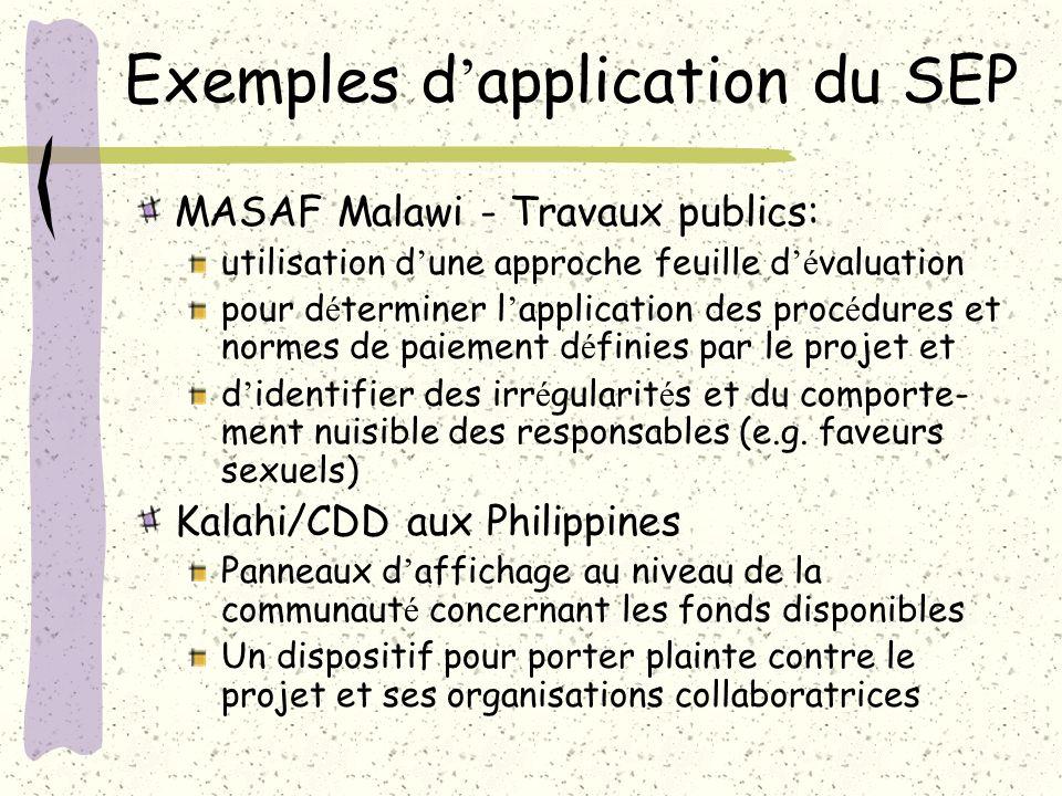 Exemples d application du SEP MASAF Malawi - Travaux publics: utilisation d une approche feuille d é valuation pour d é terminer l application des pro