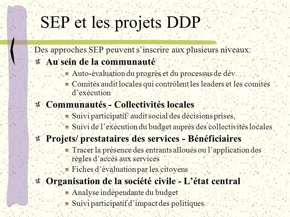 SEP et les projets DDP Des approches SEP peuvent sinscrire aux plusieurs niveaux: Au sein de la communauté Auto-évaluation du progrès et du processus de dév.