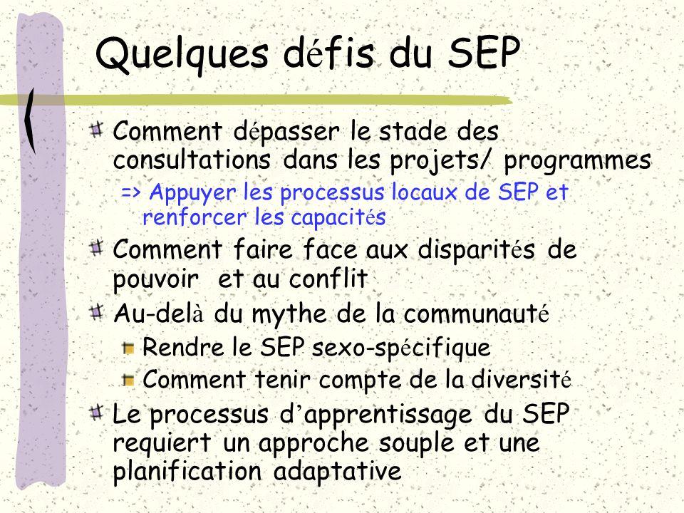 Quelques d é fis du SEP Comment d é passer le stade des consultations dans les projets/ programmes => Appuyer les processus locaux de SEP et renforcer