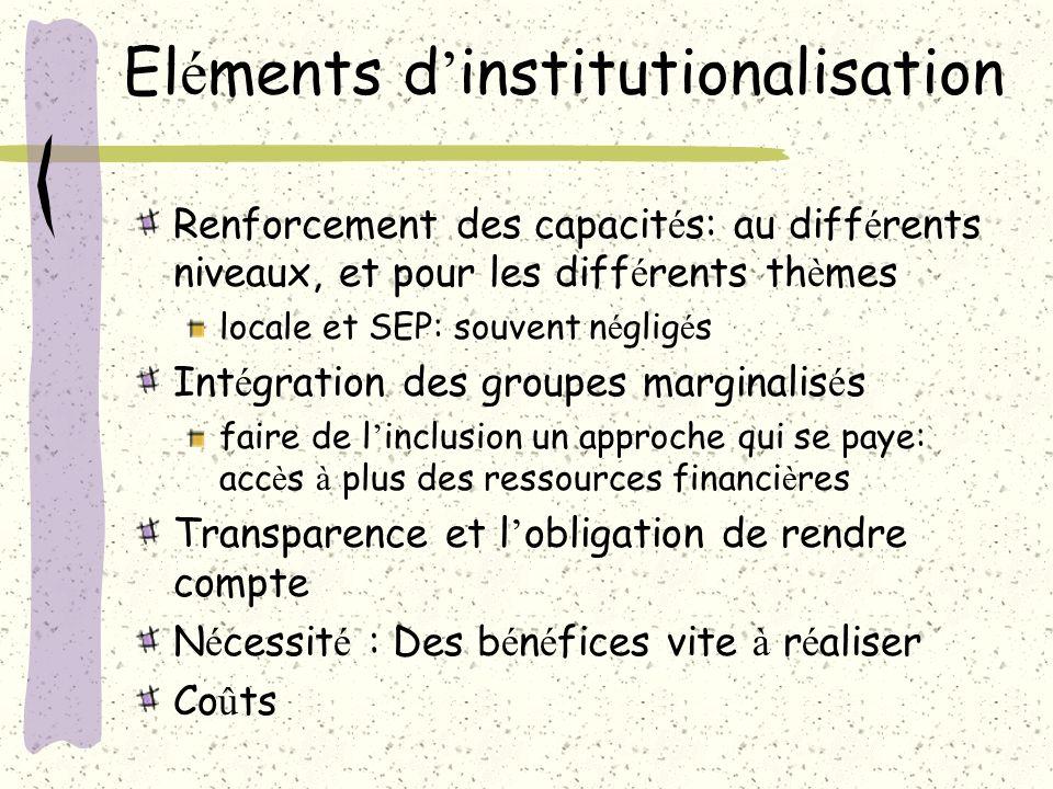 El é ments d institutionalisation Comment articuler le SEP et le syst è me S&E d un programme national.