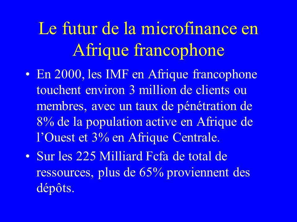 Le futur de la microfinance en Afrique francophone Dune phase deuphorie, des années 90, où des projets et des SFD proliféraient, tout azimut, Le secteur de la MF est arrivé à un stade de maturité et aussi à un carrefour, où les chemins vont se séparer DIMF généralistes, sadressant à tout public, avec les mêmes produits et services, on ira davantage vers des spécialisations