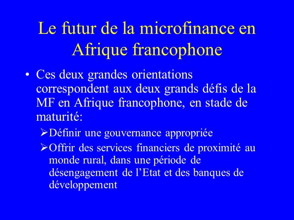 Le futur de la microfinance en Afrique francophone Ces deux grandes orientations correspondent aux deux grands défis de la MF en Afrique francophone, en stade de maturité: Définir une gouvernance appropriée Offrir des services financiers de proximité au monde rural, dans une période de désengagement de lEtat et des banques de développement