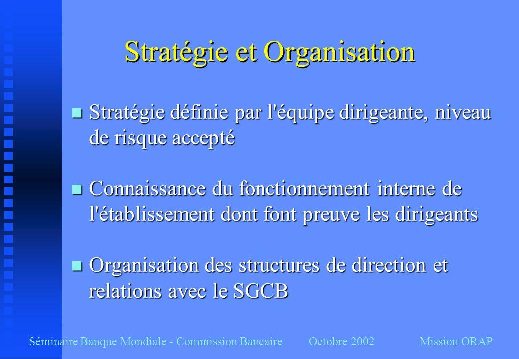 Séminaire Banque Mondiale - Commission Bancaire Octobre 2002 Mission ORAP Stratégie et Organisation n Stratégie définie par l'équipe dirigeante, nivea