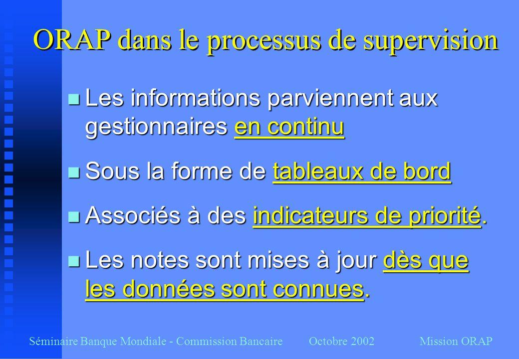 Séminaire Banque Mondiale - Commission Bancaire Octobre 2002 Mission ORAP n Les informations parviennent aux gestionnaires en continu n Sous la forme