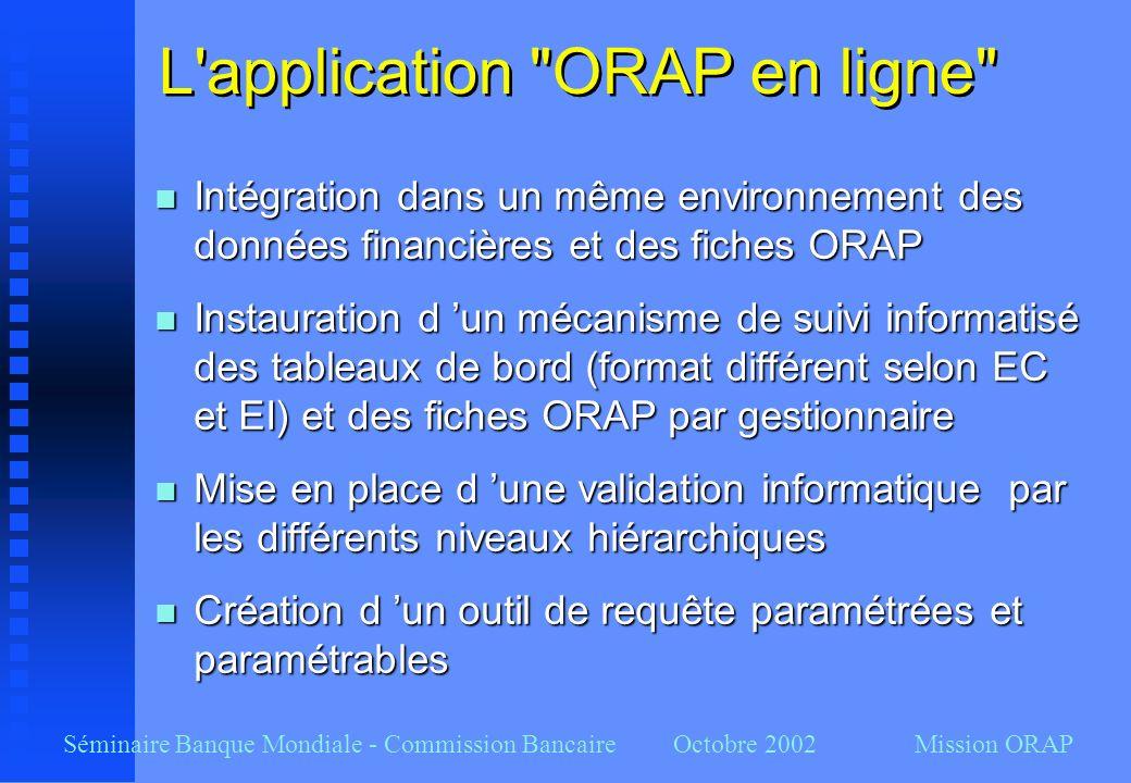 Séminaire Banque Mondiale - Commission Bancaire Octobre 2002 Mission ORAP L'application