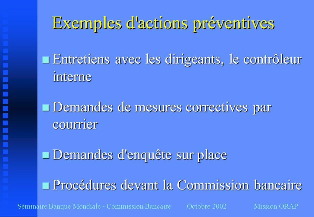 Exemples d'actions préventives n Entretiens avec les dirigeants, le contrôleur interne n Demandes de mesures correctives par courrier n Demandes d'enq
