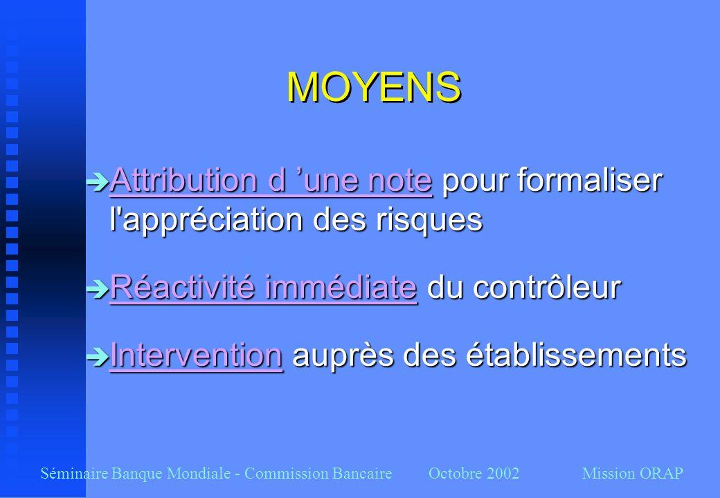 Séminaire Banque Mondiale - Commission Bancaire Octobre 2002 Mission ORAP MOYENS Attribution d une note pour formaliser l'appréciation des risques Att