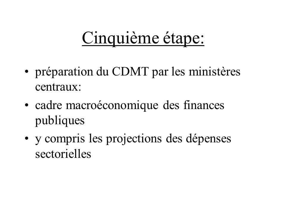 Cinquième étape: préparation du CDMT par les ministères centraux: cadre macroéconomique des finances publiques y compris les projections des dépenses