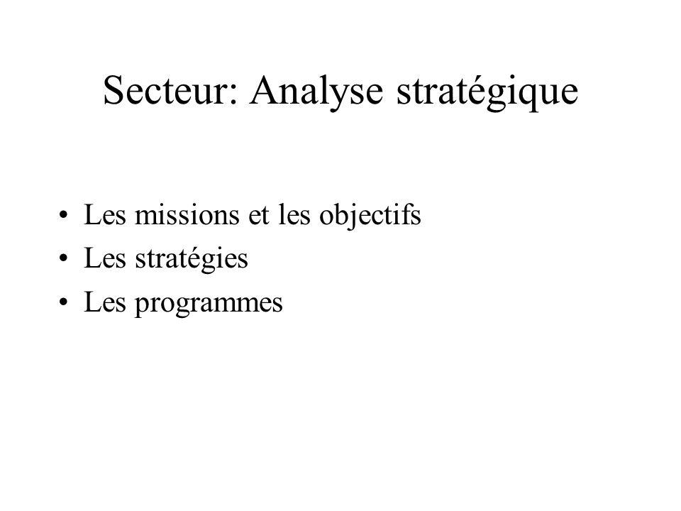 Secteur: Analyse stratégique Les missions et les objectifs Les stratégies Les programmes
