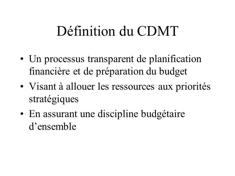 Définition du CDMT Un processus transparent de planification financière et de préparation du budget Visant à allouer les ressources aux priorités stra