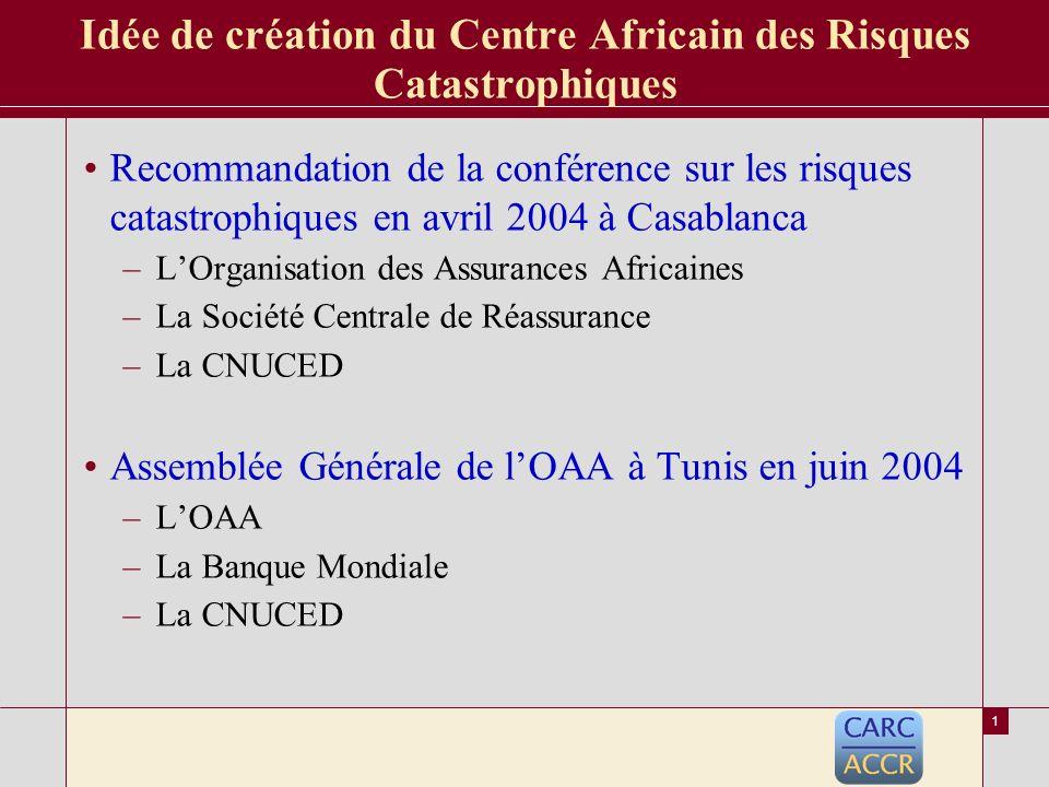 « Conf é rence r é gionale sur l assurance et la r é assurance des risques de catastrophes naturelles » Pr é sentation du Centre Africain des Risques Catastrophiques – C.A.R.C Casablanca le 14 Novembre 2006