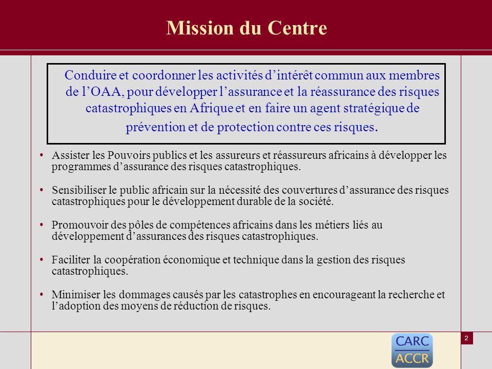 1 Idée de création du Centre Africain des Risques Catastrophiques Recommandation de la conférence sur les risques catastrophiques en avril 2004 à Casablanca –LOrganisation des Assurances Africaines –La Société Centrale de Réassurance –La CNUCED Assemblée Générale de lOAA à Tunis en juin 2004 –LOAA –La Banque Mondiale –La CNUCED
