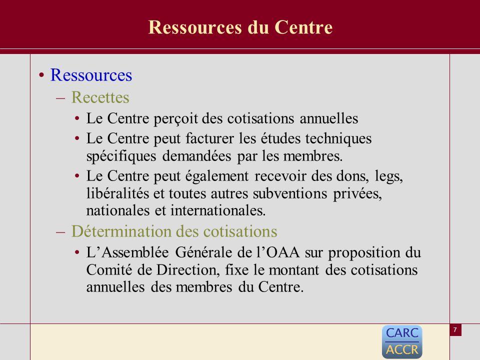 6 Adhésion au Centre Adhésion –Membres titulaires (Article 4 des Statuts de lOAA) Sociétés dassurances et réassurances ou de courtage à plus de 51% de capital africain; et organismes de tutelle des assurances africaines.