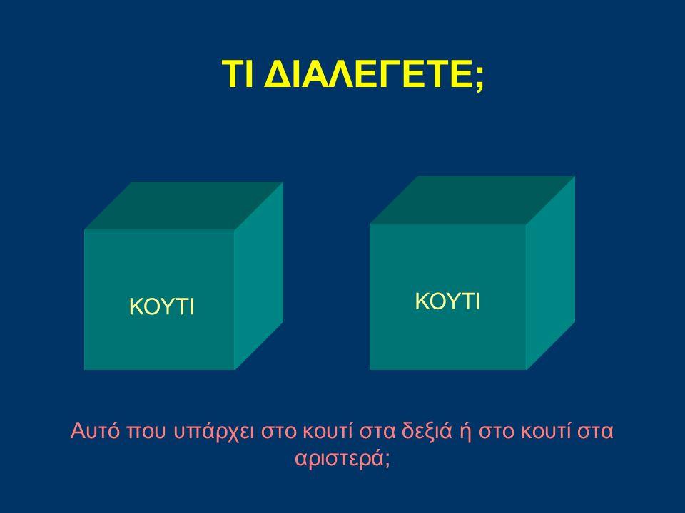 ΤΙ ΔΙΑΛΕΓΕΤΕ; ΚΟΥΤΙ Αυτό που υπάρχει στο κουτί στα δεξιά ή στο κουτί στα αριστερά;