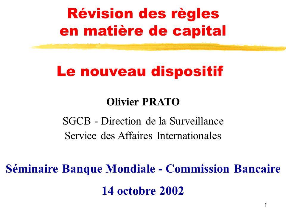 1 Le nouveau dispositif Olivier PRATO SGCB - Direction de la Surveillance Service des Affaires Internationales Séminaire Banque Mondiale - Commission