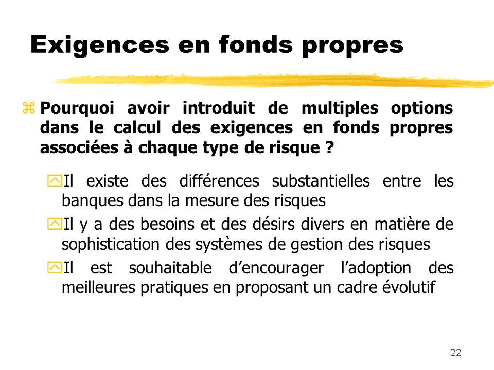 22 Exigences en fonds propres zPourquoi avoir introduit de multiples options dans le calcul des exigences en fonds propres associées à chaque type de