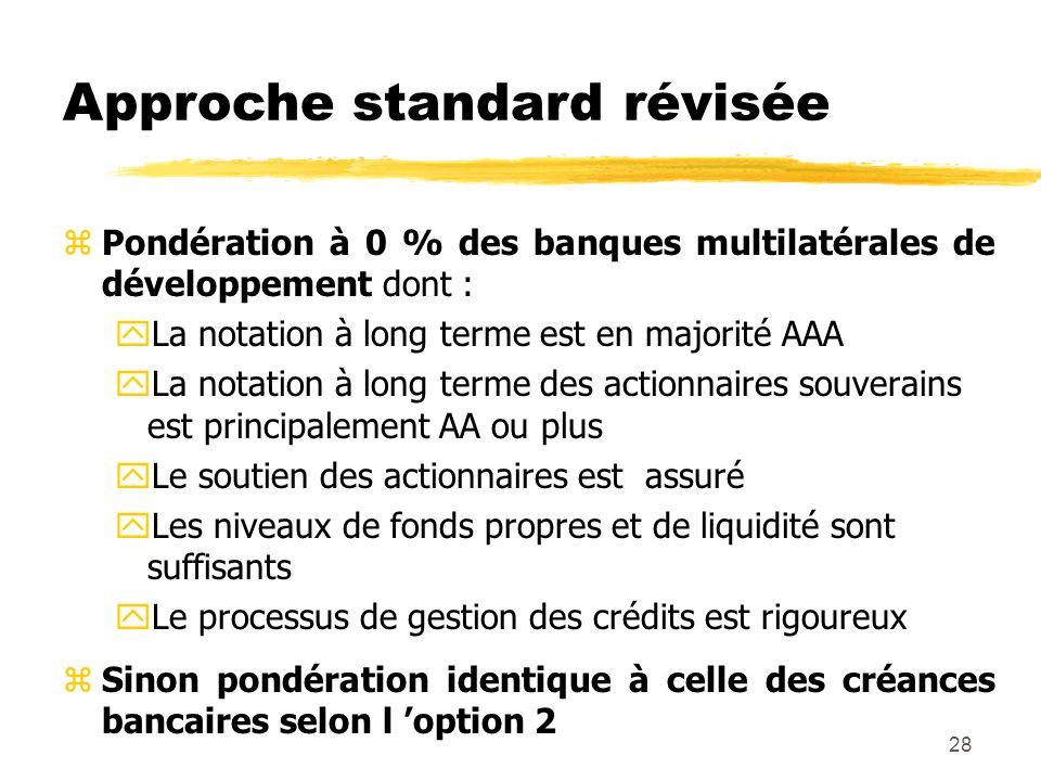 28 Approche standard révisée zPondération à 0 % des banques multilatérales de développement dont : yLa notation à long terme est en majorité AAA yLa n